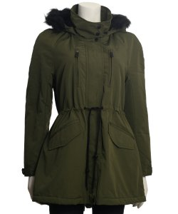 Coffeeshop Soft Shell Hooded Coat with Faux Fur Trim