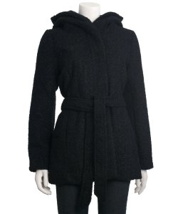 Coffeeshop Hooded Boucle Coat with Waist Tie