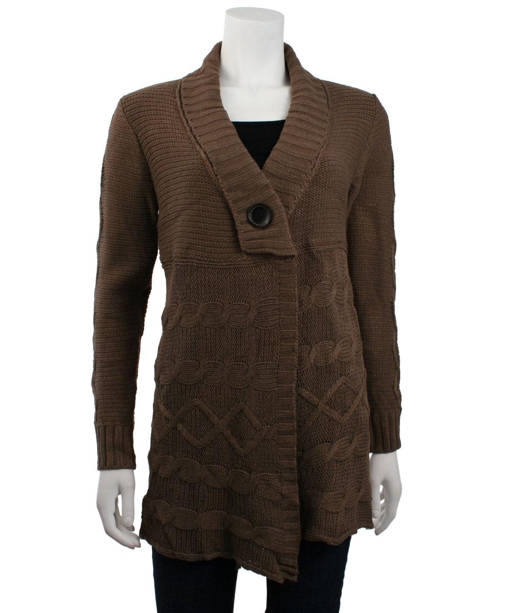 Knitting Cardigan Collar : Fashionville tops monoreno shawl collar cable knit