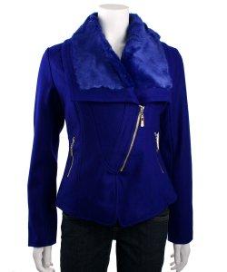 Lucy Paris Faux Fur Collar Moto Jacket (Blue)