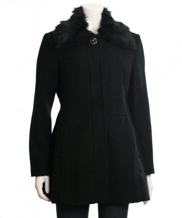 Jessica Simpson Faux Fur Collar Walker Coat